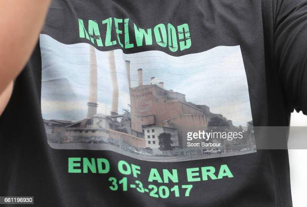 A detail of a workers Tshirt outside of the Hazelwood Power Station on March 31 2017 in Hazelwood Australia Around 750 workers have been left jobless...