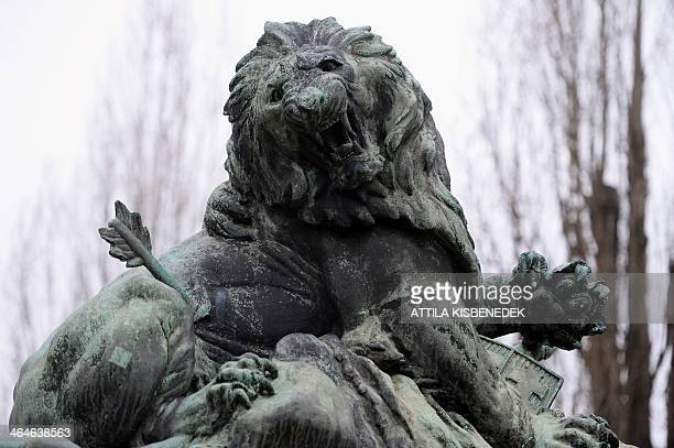 A detail of a WW1 monument that commemorates the 8625 dead soldiers of the 76th battalion of the infantry regiment of the Hungarian Army in Sopron...