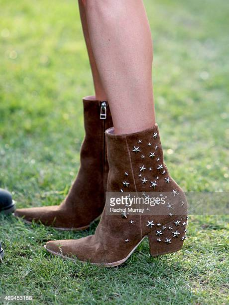 Detail of actress and designer Kate Bosworth's boots designed by her for her shoe line Matisse during the 2015 Coachella Valley Music and Arts...