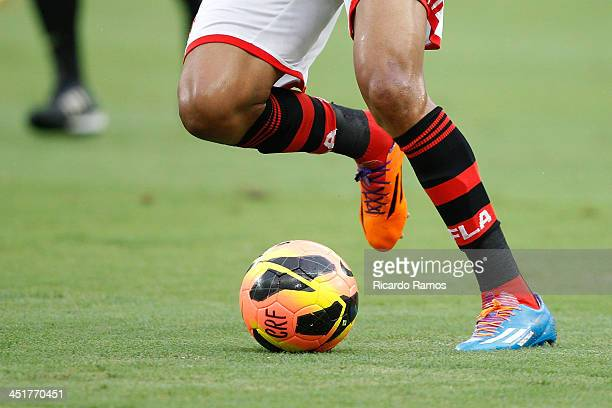 Detail of Adidas boots during the match between Flamengo and Corinthians for the Brazilian Series A 2013 at Maracana on November 24 2013 in Rio de...
