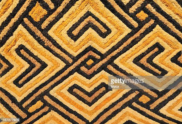 detail of african kasai velvet tapestry woven by kuba tribe - african tribal culture stock pictures, royalty-free photos & images