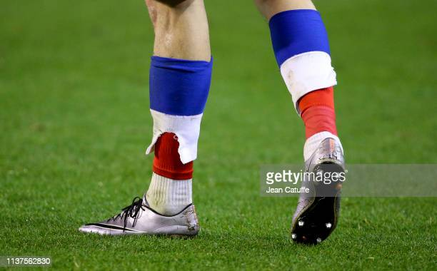 Detail of Aleksandr Golovin's socks during the 2020 UEFA European Championships group I qualifying match between Belgium and Russia at King Baudouin...