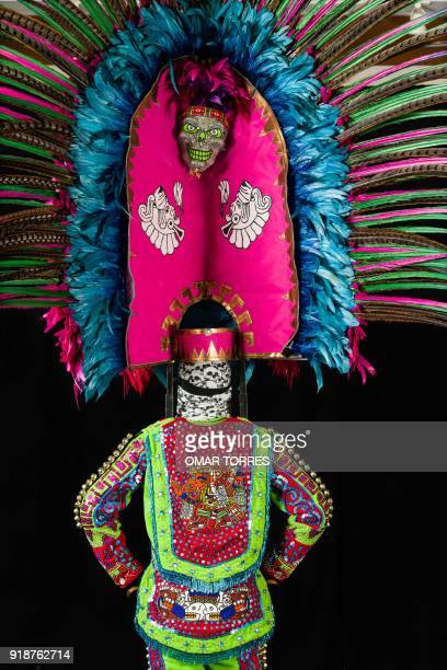 Detail of Alfredo Alvarez´s costume for the carnival in Tlaxcala Mexico on February 13 2018 The satirical costumes and masks were originally...
