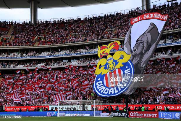 Detail of ambience of Chivas fans prioro the 9th round match between Chivas and Atlas as part of the Torneo Apertura 2019 Liga MX at Akron Stadium on...