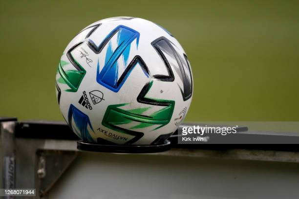 Detail of an Adidas soccer ball prior to the start of the match between FC Cincinnati and DC United at Nippert Stadium on August 21, 2020 in...