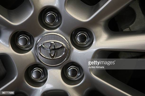 Detail of an alloy wheel with Toyota's logo on a car displayed at the company's Tokyo headquarters on February 17 2010 in Tokyo Japan Toyota promised...