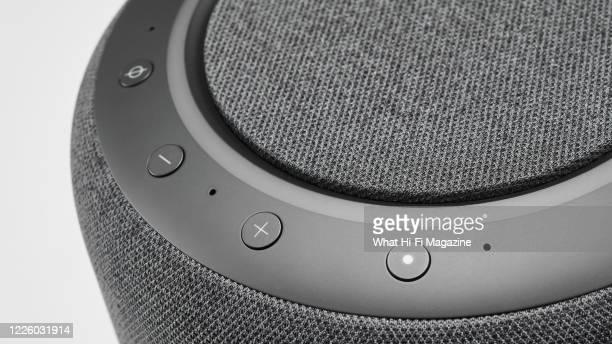 Detail of an Amazon Echo Studio smart speaker, taken on December 2, 2019.