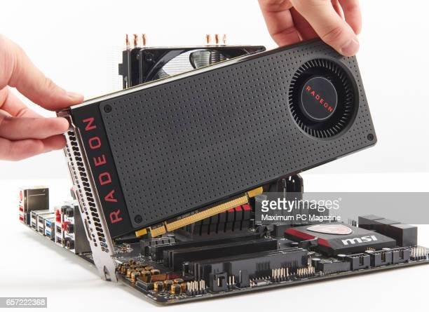 Detail of an AMD Radeon RX 480 GPU being fitted to a MSI 970 Gaming motherboard taken on July 7 2016