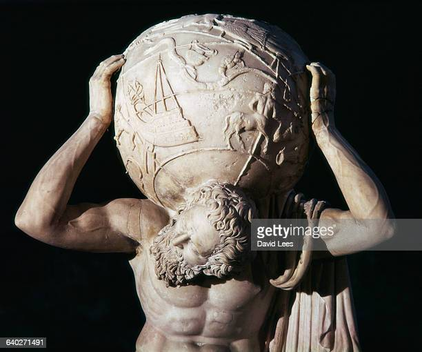 Detail of an Ancient Roman Statue of Atlas Supporting the World