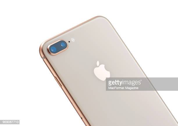 Detail of an Apple iPhone 8 Plus smartphone with a Gold finish including the dual 12megapixel rear camera system taken on September 28 2017