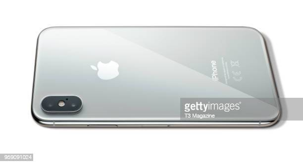 Detail of an Apple iPhone X smartphone with a Silver finish taken on October 27 2017