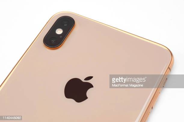 Detail of an Apple iPhone XS Max smartphone with a Gold finish taken on October 2 2018