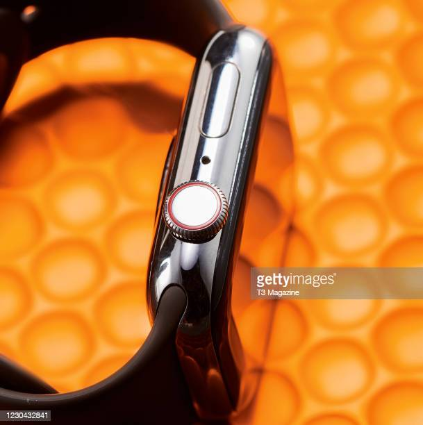 Detail of an Apple Watch Series 5 smartwatch, taken on March 11, 2020.