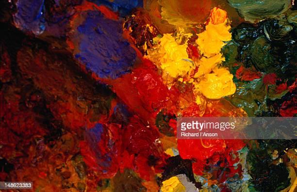 Detail of an artist paint palette