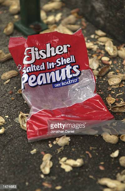 Detail of an empty bag of peanuts after the MLB game between the Cincinnati Reds and the Chicago Cubs on September 26 2002 at Wrigley Field in...