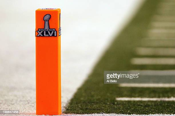 A detail of an end zone plyon with the official Super Bowl XLVI logo is seen prior to the New York Giants playing against the New England Patriots at...