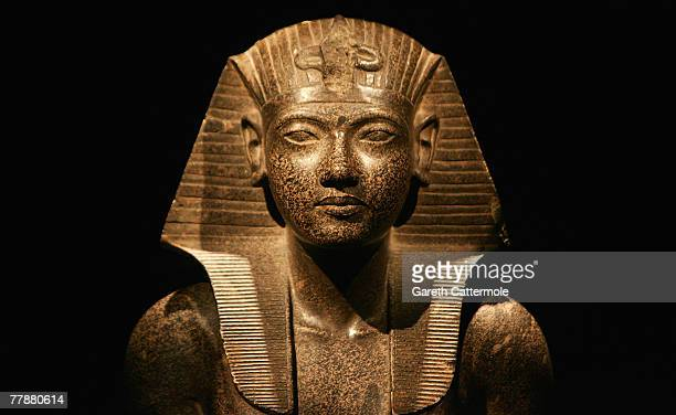 Detail of an exhibit on display during the press viewing of the 'Tutankhamun The Golden Age of the Pharaohs' exhibition at the O2 Arena on November...