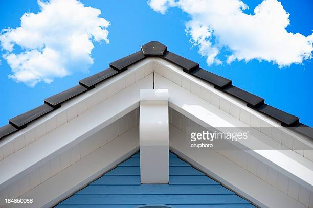 detail of an house roof in the summer - roof stock photos and pictures