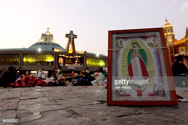 Detail of an image of Virgin of Guadalupe in front of the Basilica during the celebration of the Virgin of Guadalupe on December 12 2009 in Mexico...