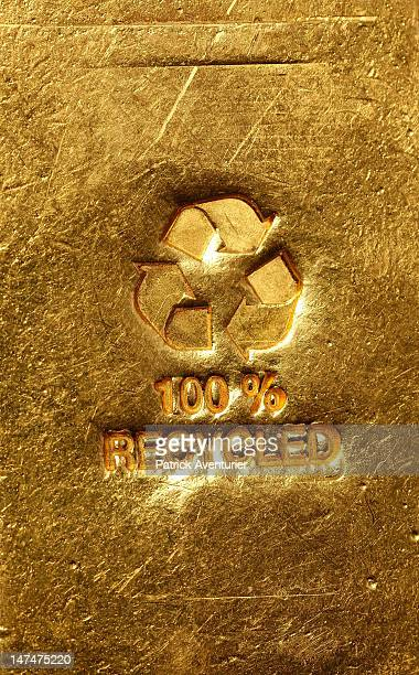 A detail of an ingot of recycled gold bullion displayed at the workshop of 'Gold By Gold' on January 28 2012 in Paris France The company has...