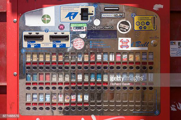 Detail of an Italian cigarette dispenser in a Bassano street Various brands and strengths of nicotine can be bought on the street in Italy Under...