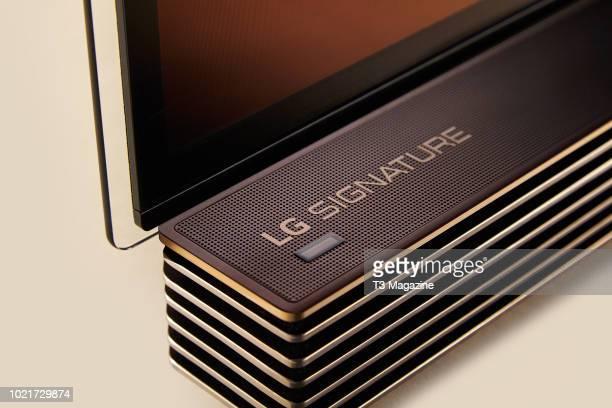 Detail of an LG Signature OLED65G7V television taken on December 20 2017