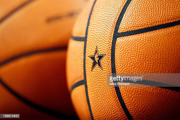 A detail of an offical NBA AllStar basketball is seen during the Taco Bell Skills Challenge part of 2012 NBA AllStar Weekend at Amway Center on...