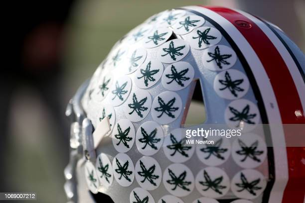 A detail of an Ohio State Buckeyes helmet during the game against the Maryland Terrapins at Capital One Field on November 17 2018 in College Park...