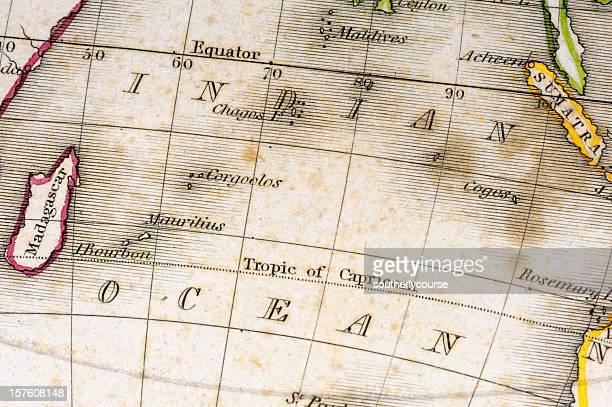 detalle de un antiguo mapa - islas mauricio fotografías e imágenes de stock