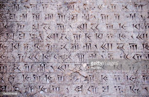 detail of an old persian cuneiform inscription in persepolis, shiraz, iran - mesopotamian stock photos and pictures
