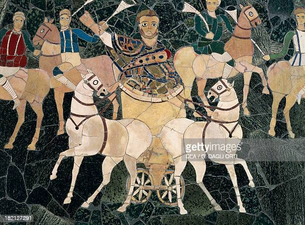 Detail of an opus sectile panel depicting the consul between the factions of the circus 330350 AD artefact in marble semiprecious stones and glass...