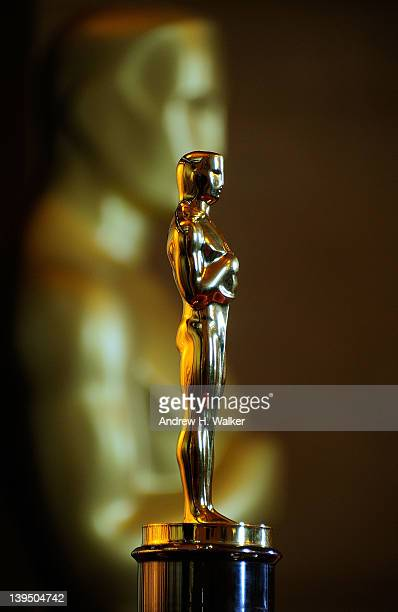 Detail of an Oscar statue during the ribbon cutting for the 84th Annual Academy Awards 'Meet The Oscars' at Grand Central Terminal on February 22...