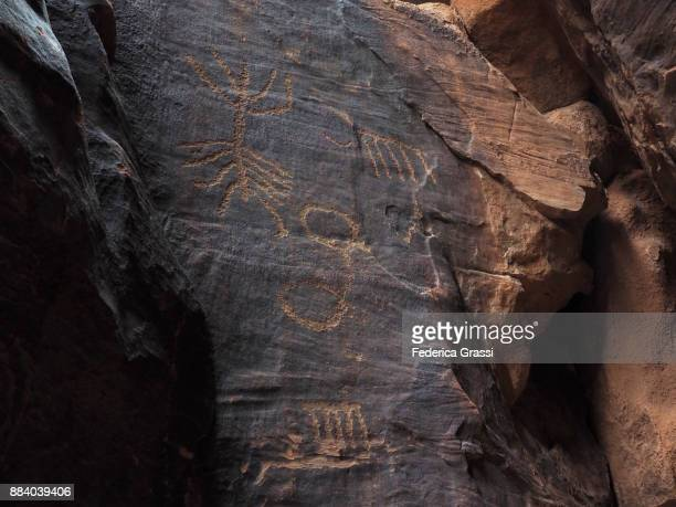 Detail of Ancient Petroglyphs On Sandstone Wall, Gold Butte National Monument, Nevada