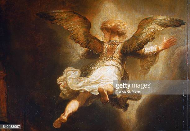 Detail of Angel Raphael Leaving Tobit and His Family by Rembrandt van Rijn