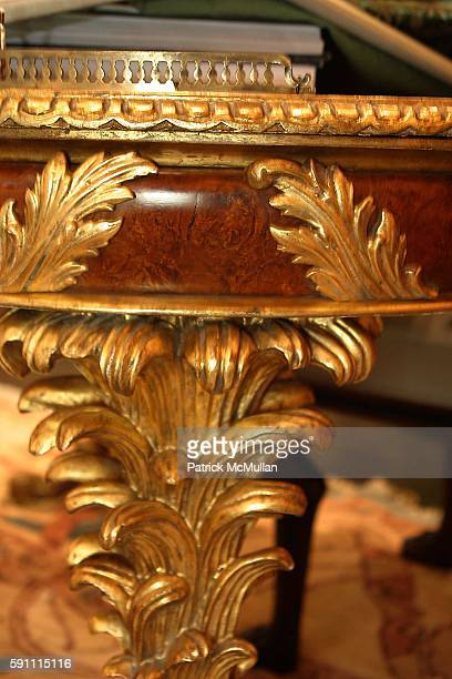 Detail of Ann Getty House Collection and Acanthus Leaf Writing Desk attend Ann Getty Michael Leondas Kirkland and John Nelson celebrate the arrival...