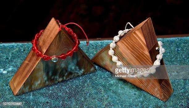 Detail of Annie LeBling bracelets on display at the Annie LeBling presents Annie LeBlanc Performance Pop Up Shop on December 8 2018 in Los Angeles...
