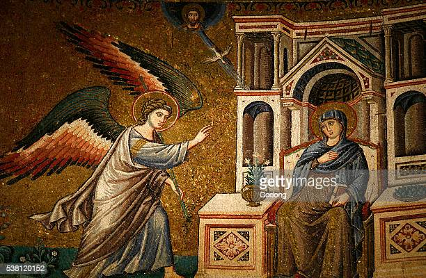 Detail of Annunciation to the Virgin Mary Mosaic in Santa Maria in Trastevere