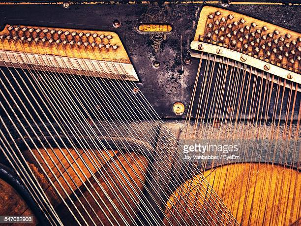 detail of antique piano - string instrument stock photos and pictures