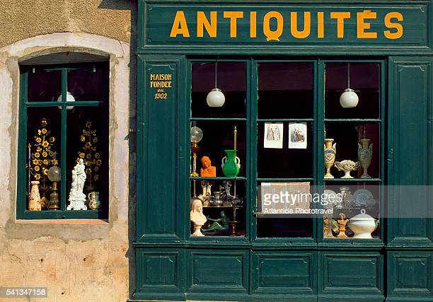 detail of antique shop - carcassonne stock pictures, royalty-free photos & images