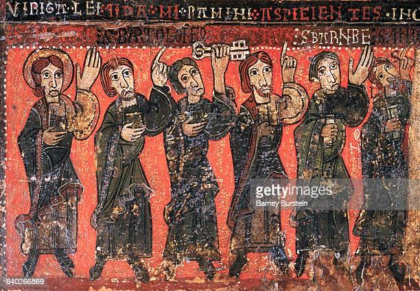 Detail of Apostles from a Catalan Romanesque Altar Frontal Depicting the Ascension of Christ