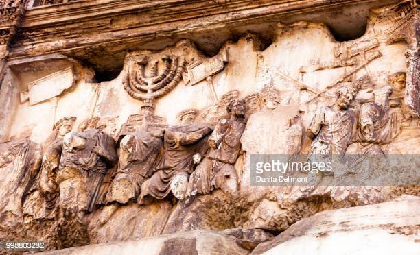 Detail of Arch of Titus in Roman Forum, Rome, Italy