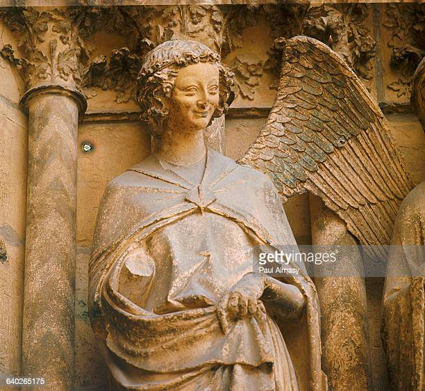 Detail of Archangel Gabriel from Annunciation to the Virgin Mary on the Central Portal of Reims Cathedral