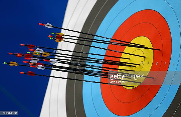 A detail of arrows in a target during competition in the men's individual archery ranking round at the Olympic Green Archery Field during Day 1 of...