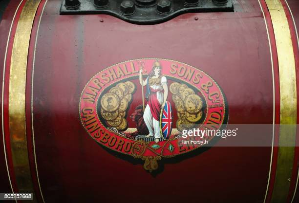 Detail of artwork on a steam engine during the Duncombe Park Steam Rally on July 1 2017 in Helmsley United Kingdom Held annually in the picturesque...