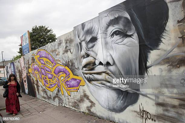 Detail of artwork produced as part of the 2016 Upfest on July 27, 2016 is seen in Bristol, England. The annual event, which this year helped...