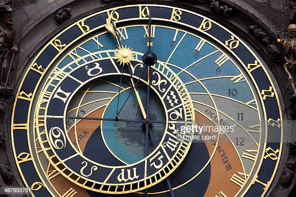 detail of astronomical clock prague town hall - astrology sign stock photos and pictures