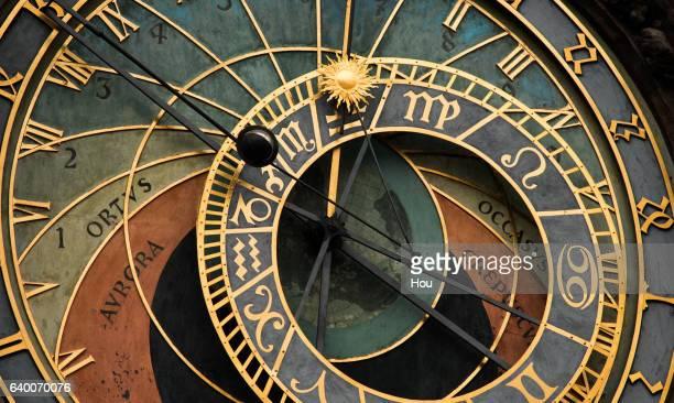 detail of astronomical clock prague town hall - astronomical clock prague stock pictures, royalty-free photos & images