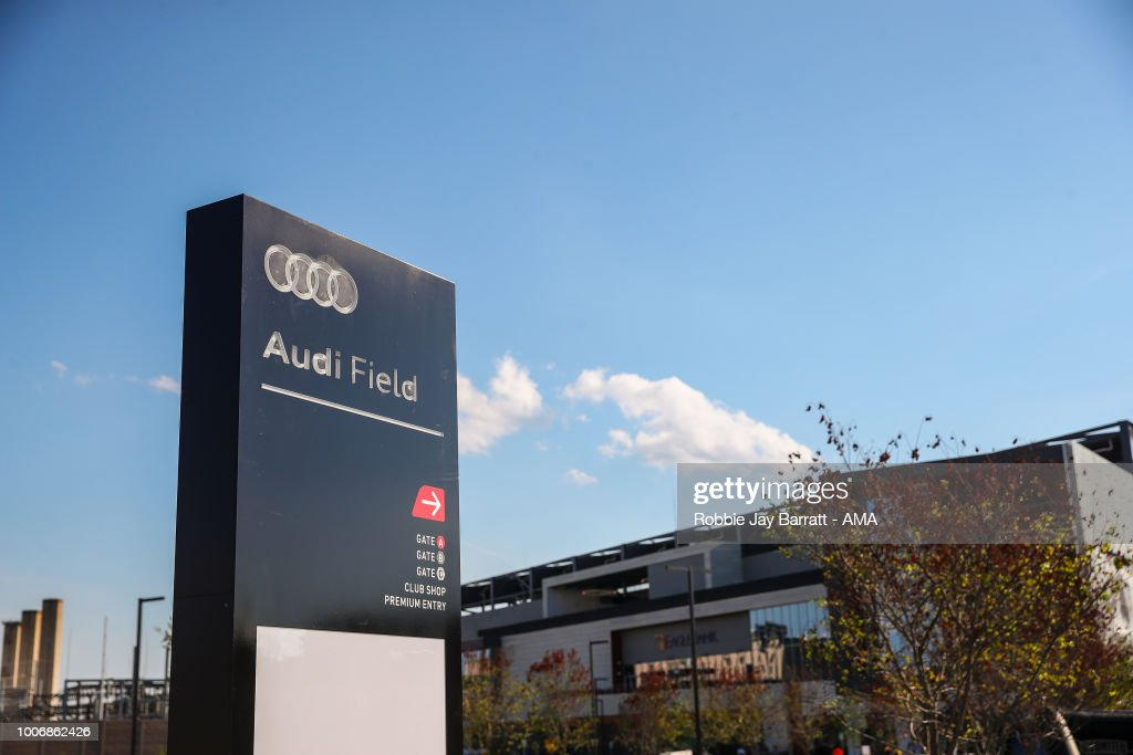 Detail of Audi Field signage outside Audi Field, home stadium of of DC United prior to the MLS match between DC United and Colorado Rapids at Audi Field on July 28, 2018 in Washington, DC.