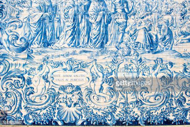 detail of azulejos (earthenware tiles) on an outside wall of the 18th century do carmo church. oporto, portugal, europe - portuguese culture stock pictures, royalty-free photos & images