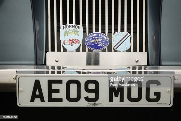 Detail of badges on the grille of a Morgan sports car at the Morgan Centenary Festival on August 1 2009 at Cheltenham racecourse England The Morgan...